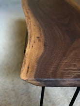 Handcrafted Black Walnut Live Edge Bench with Hairpin Legs