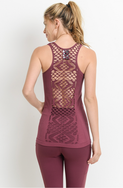 Lace back Tank Top Plum