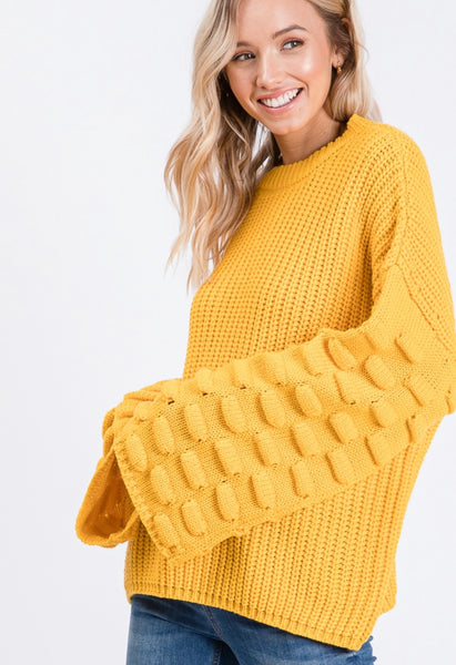 Yellow Flare Sleeve Sweater