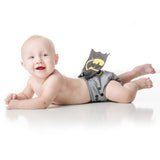 boy in Batman Gray Snap-In-One Cloth Diaper with Cape