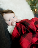 Cotton Muslin Swaddle, Red Plaid