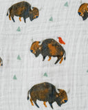Cotton Muslin Swaddle, Bison
