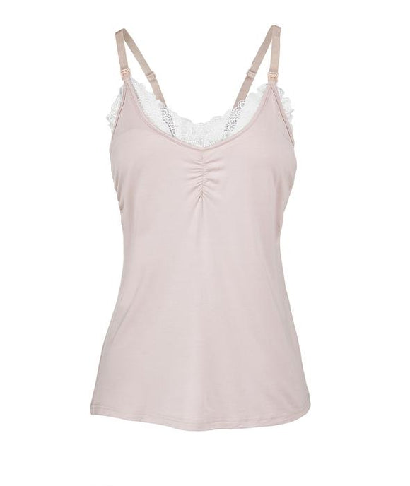 Lace Nursing Camisole By Oh La Lari, Dusty Rose and White