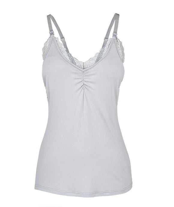 Lace Nursing Camisole By Oh La Lari, Glowing Gray