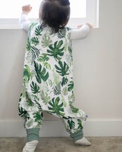 Load image into Gallery viewer, Cotton Muslin Sleep Romper, Tropical Leaf