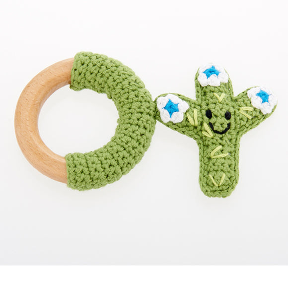 Cactus Wooden Teething Ring, White Flower