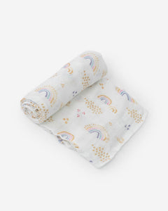Deluxe Bamboo Swaddle, Rainbows & Raindrops