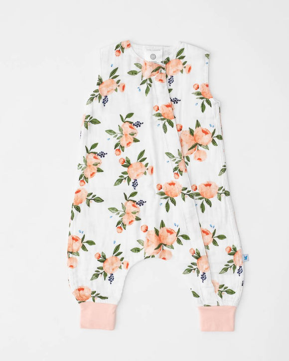 Cotton Muslin Sleep Romper, Watercolor Roses
