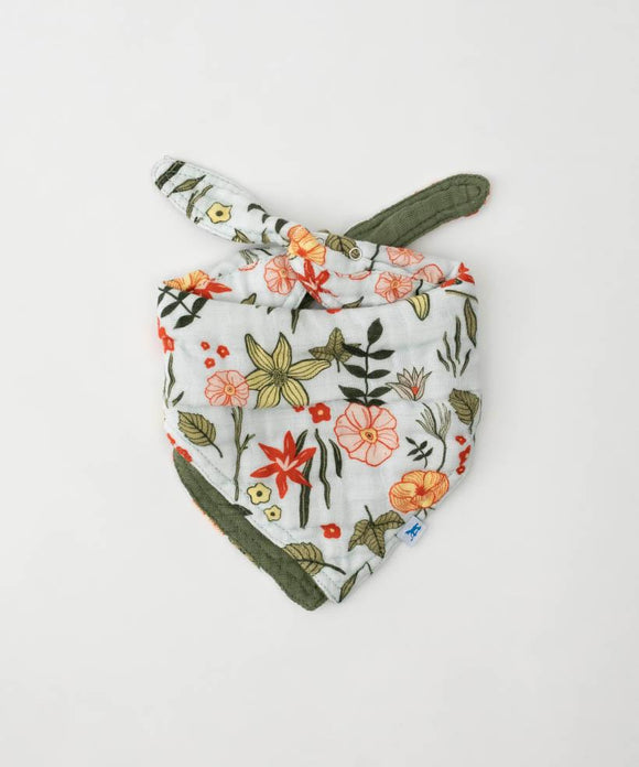 Reversible Cotton Bandana Bib, Primrose Patch