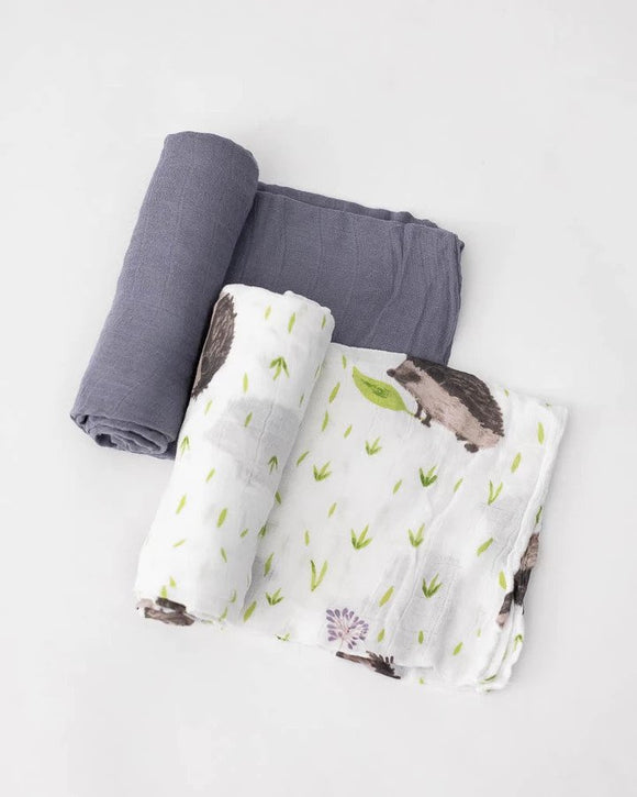 Deluxe Bamboo Swaddles, Charcoal Hedgehog