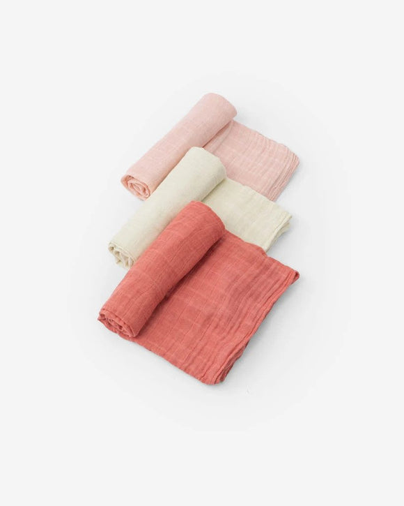 Cotton Muslin Swaddles, Rose Petal