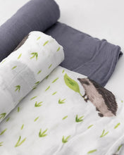 Load image into Gallery viewer, Deluxe Bamboo Swaddles, Charcoal Hedgehog