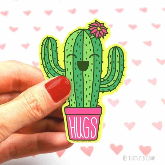 Hugs Potted Cacti Sticker