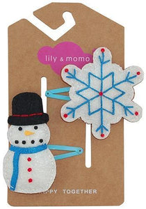 Happy Together Hair Clip, Snowman & Snowflake