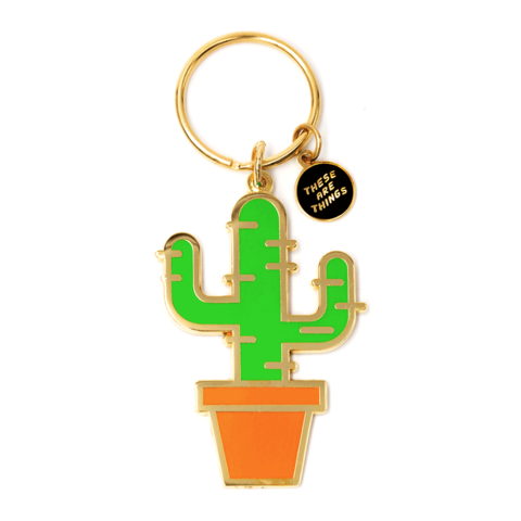 These Are Things Enamel Keychain, Cactus