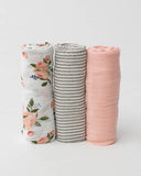 Cotton Muslin Swaddles, Watercolor Roses