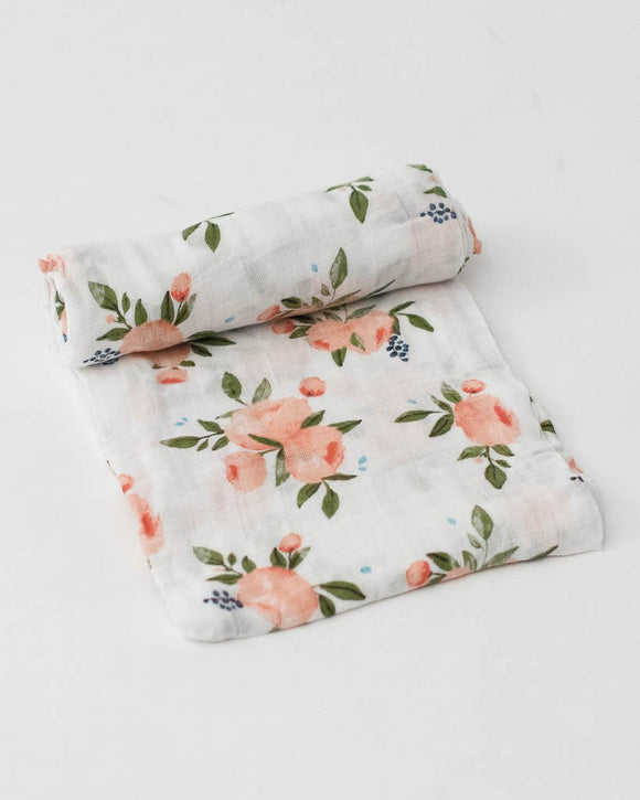 Cotton Muslin Swaddle, Watercolor Roses