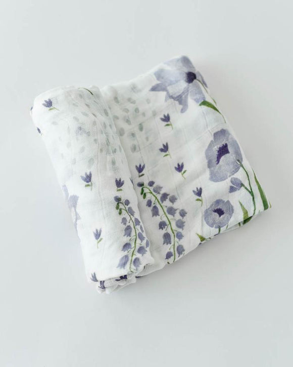 Deluxe Bamboo Swaddle, Blue Windflower