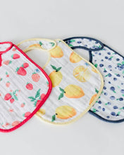 Load image into Gallery viewer, Cotton Muslin Bib, Berry Lemonade, 3 Pk