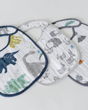 Cotton Muslin Bib, Dino, 3 Pk