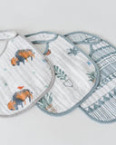 Cotton Muslin Bib, Bison, 3 Pk