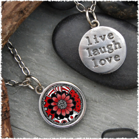 "Black White Red Flower ""Live, Laugh, Love"" Circle Pendant"