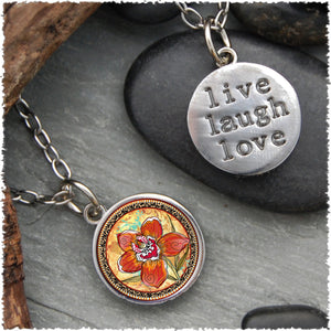 "Orchid ""Live, Laugh, Love"" Circle Pendant"