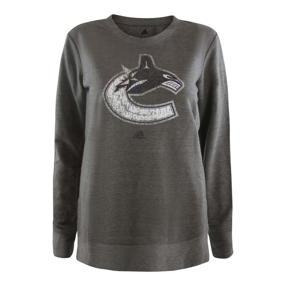 Vancouver Canucks Women's Adidas Distressed Orca Crew - Vanbase