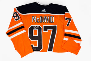 McDavid Oilers Orange Jersey, Signed