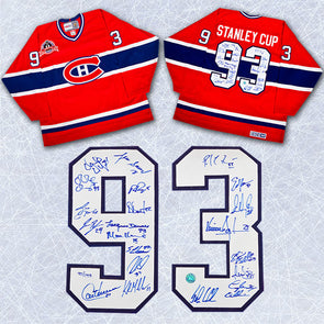 1993 Montreal Canadiens Team Signed Stanley Cup Jersey LE #/193-21 Autographs - Vanbase