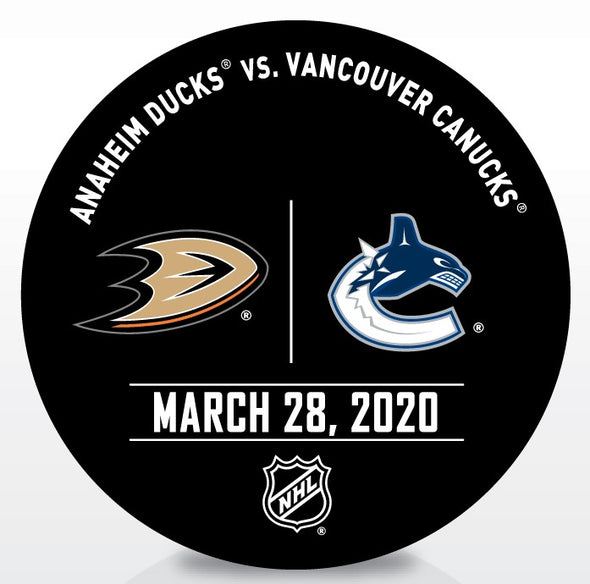 Canucks vs. Ducks Warm Up Puck- March 28 2020