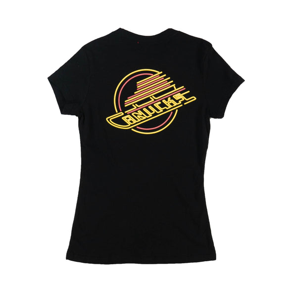 Vancouver Canucks Womens M&N Neon Light T-Shirt Skate