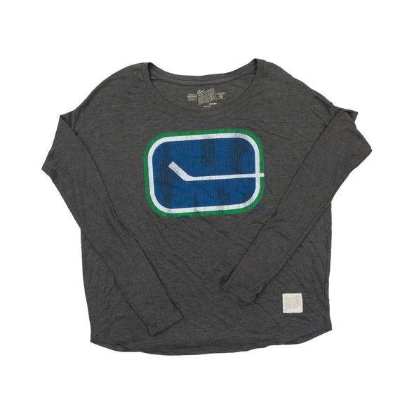 Vancouver Canucks Ladies Retro Relaxed Fit LS Shirt