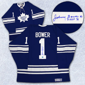 Johnny Bower Toronto Maple Leafs Signed 1967 Stanley Cup Retro CCM Jersey - Vanbase