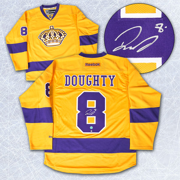 cheap for discount 88cf0 be4a8 Drew Doughty Los Angeles Kings Autographed Yellow Purple Reebok Premier  Jersey