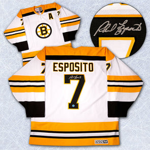 Phil Esposito Boston Bruins Autographed Stanley Cup Retro CCM Jersey - Vanbase