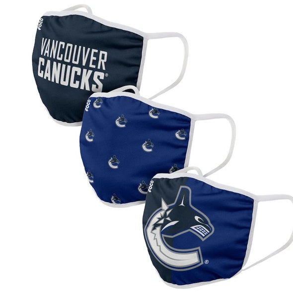 Vancouver Canucks Licensed Adult Cloth Face Coverings 3-Pack