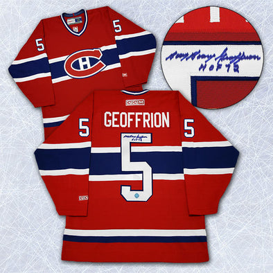 Bernie Boom Boom Geoffrion Montreal Canadiens Autographed Retro CCM Jersey - Vanbase