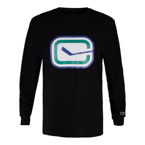 Canucks Champion Stick in Rink Long Sleeve (Black)
