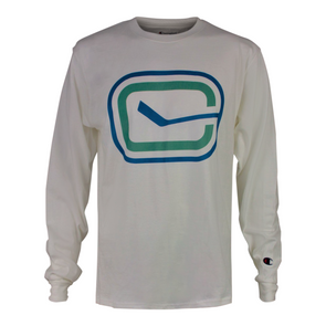 Canucks Champion Stick in Rink Long Sleeve (White)