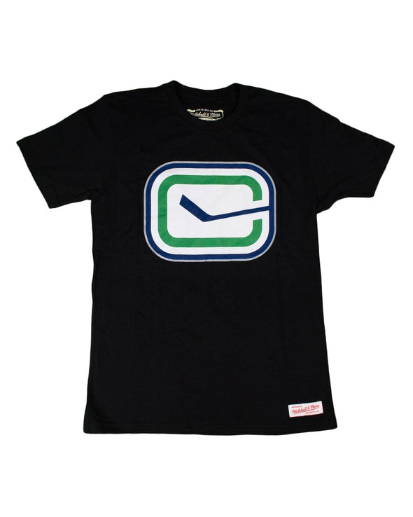 Vancouver Canucks Mens Mitchell & Ness Silver Outline Stick T-Shirt