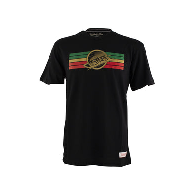Vancouver Canucks Mitchell & Ness Black Euro Skate Tee - Vanbase