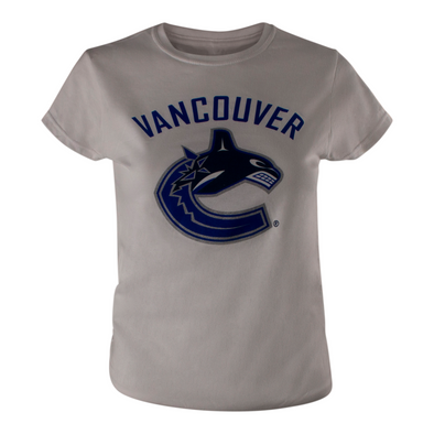 Vancouver Canucks Womens Basic Primary Orca T-Shirt (White) - Vanbase
