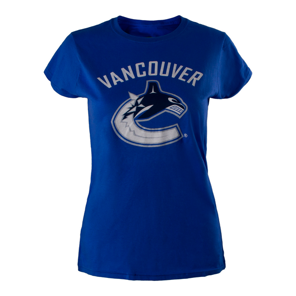 Vancouver Canucks Womens Basic Primary Orca T-Shirt (Blue) - Vanbase