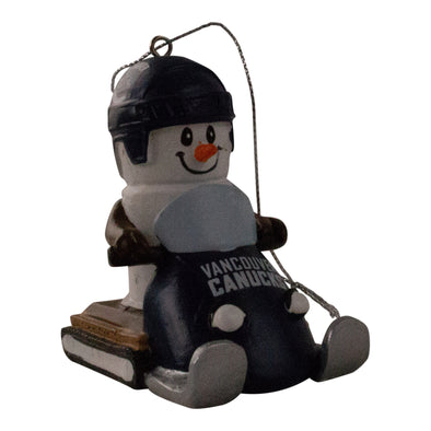 Vancouver Canucks Snowmobile Snowman Ornament - Vanbase