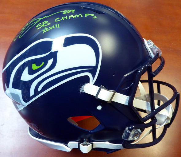 "Doug Baldwin Autographed Seattle Seahawks Full Size Authentic Speed Helmet ""SB XLVIII Champs"" In Green - Vanbase"