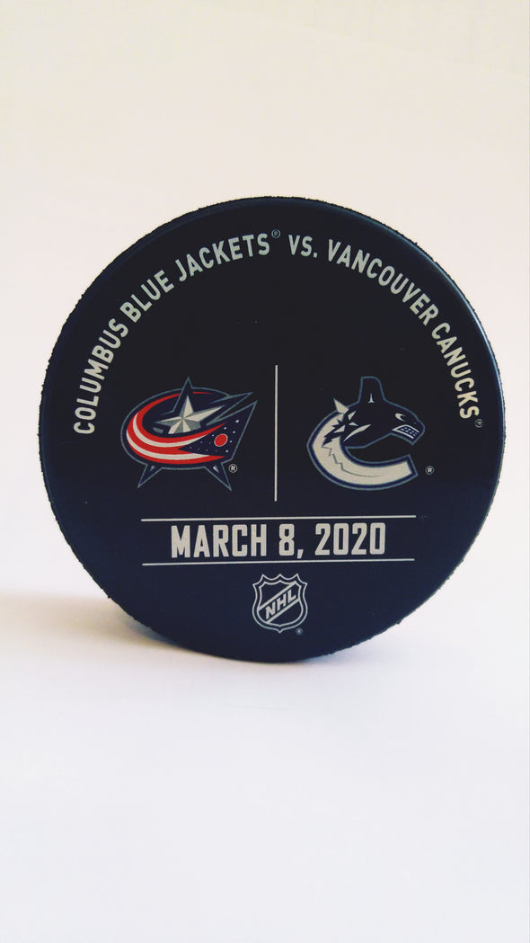 Vancouver Canucks VS. Columbus Blue Jackets Warm Up Puck- March 8th, 2020
