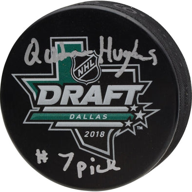 "Vancouver Canucks Quinn Hughes Signed 2018 NHL Draft Logo Hockey Puck with ""#7 Pick"" Inscription"