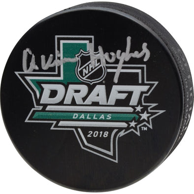 Quinn Hughes Signed 2018 NHL Draft Logo Hockey Puck