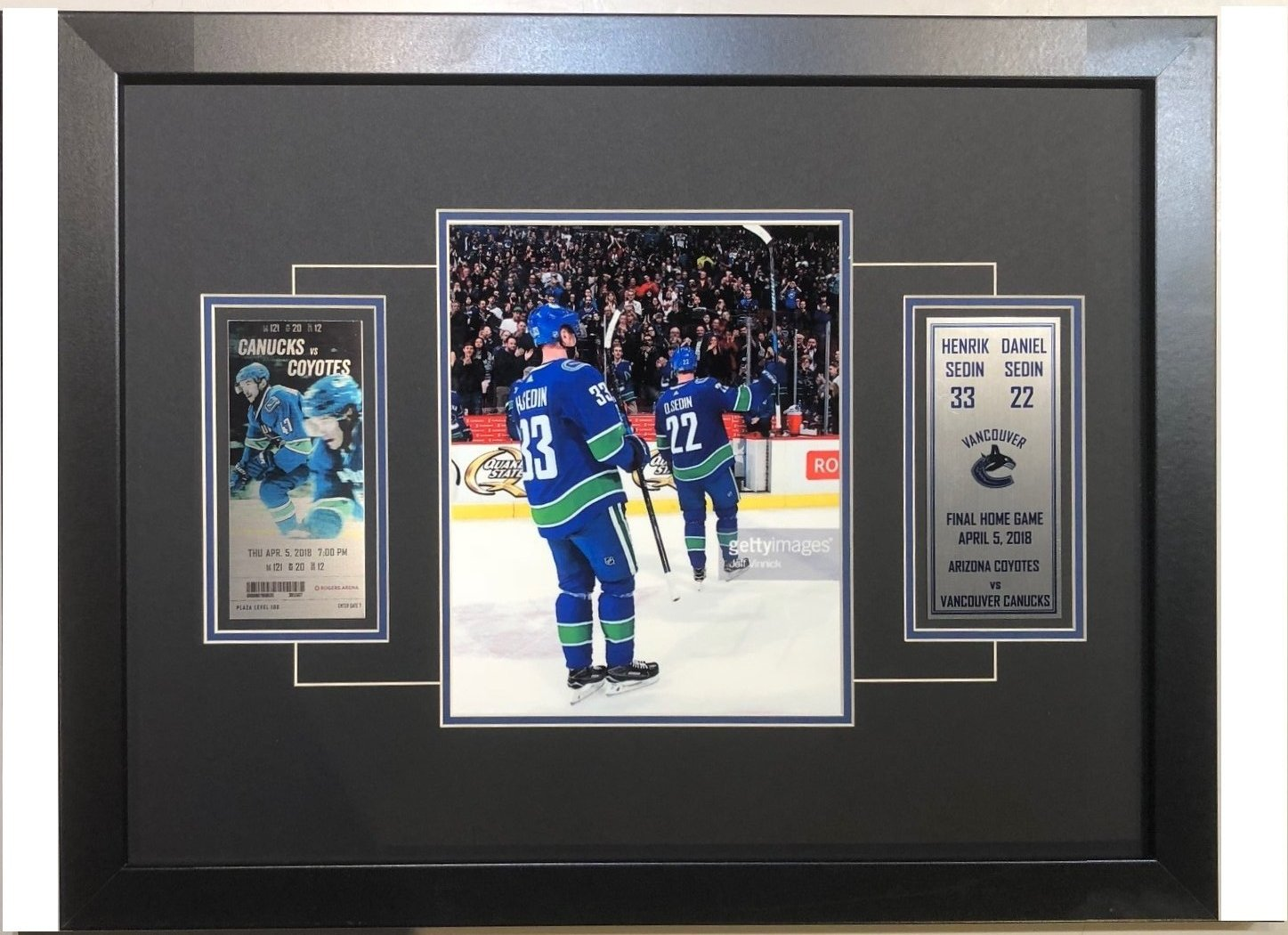 Sedin Final Game Ticket Frame ( Pre-Order). Vancouver Canucks f1dc388f0